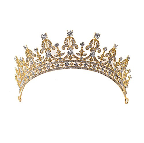 Unbekannt Tiara Haarschmuck Diadem Krone Perlen Strass Haarreifen Braut Hochzeit Reifen (Gold/Silber)
