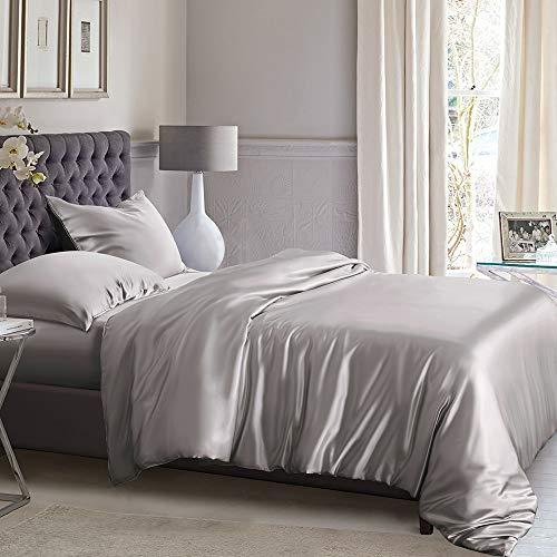 ElleSilk Silk Bettbezug, 22Momme Mulberry Seide, Maschinenwäsche, hautsympathisch, Seide, Silber, California King (108