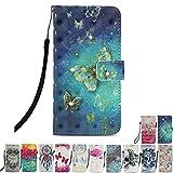 E-Mandala Housse Coque Portefeuille Apple iPhone 6S Plus 6 Plus Cuir Porte Carte Motif Dessin Flip Case Wallet Leather Cover à Rabat Antichoc - Papillon Or