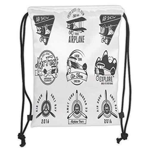 LULUZXOA Gym Bag Printed Drawstring Sack Backpacks Bags,Airplane Decor,Airplane Emblems Labels Badges Design Elements Aviation Stamps Logotype Propeller Decorative, Soft Satinring -