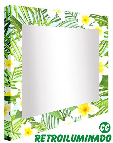CCRETROILUMINADOS. Espejos para el Baño Retroiluminados. Flores Blancas (80_x_80_cm)