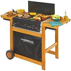 Campingaz Barbecue Gas Adelaide 3 Woody, Grill Barbecue a Gas a 3 Bruciatore, Potenza di 14 kW, Griglie in Acciaio, 2 Tavoli a Lato, Scuro