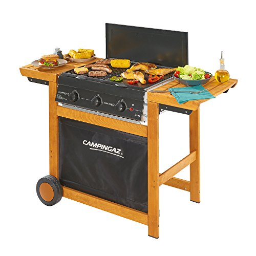 Campingaz Gas BBQ Adelaide 3 Woody, 3 Burner Gas Barbecue Grill, 14kW Power, InstaClean Easy Cleaning System, Steel Grids, 2 Side Tables