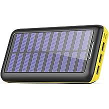 Cargadores Solare Power Bank, BERNET 24000mAh Batería Externa con 3 Puertos de Salida USB y Entrada Doble(Lighting y Micro) con Solar Cargador Portátil para iPhone, iPad, Samsung Huawei y Otros Smartphone-Amarillo