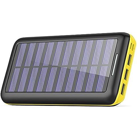 Batterie Externe, BERNET 24000 mAh Chargeur Solaire Power Bank avec Deux Entrées(Lighting et Micro) et 3 Ports Haute Vitesse de Charge Portable pour iPhone, iPad, Samsung, Nexus, HTC et autres