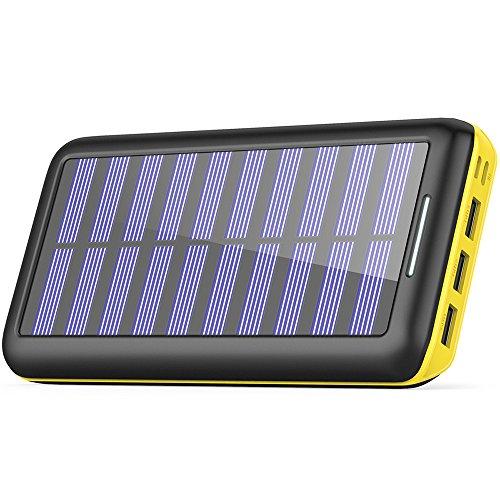 Solar Ladegerät Powerbank, BERNET 24000mAh Externes Batterien mit (Lighting & Micro)Dual Input und 3 Ausgänge Solarladegeräte für iPhone, iPad, Samsung, Android und weitere Smartphones-Gelb