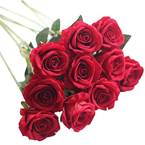 OverDose Künstliche gefälschte Rosen Flanell-Blume Brautstrauß Hochzeit Home Decor Artificial Fake Roses Bridal Bouquet (H, 5 Pcs)