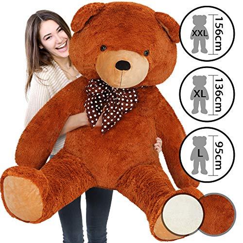 Infantastic Teddybär | in 3 Größen: XXL (156 cm), XL (136 cm), L (95 cm) und 2 Farben (Weiß, Braun) | Großer Teddy, Plüschbär, Kuschelbär, Kuscheltier, Stofftier - Braun/XXL(156cm) (Extra Großer Teddybär)