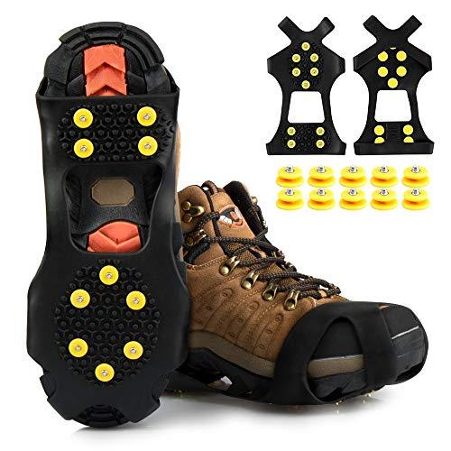 synmixx Schuhspikes Schuhkrallen Anti Rutsch Ice Klampen Schnee Spikes mit 10 Ersatz Spikes Herren Damen Steigeisen Eiskrallen für Schnee, EIS, Wandern und Bergsteigen - 1 Paar