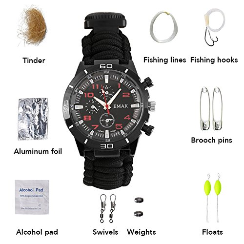 Survival Watch, 16 in 1 Paracord Universal Bracelet with Outdoor Camping Survival Rope, Fire Starter, Compass, Thermometer, Whistle, Fishing by...