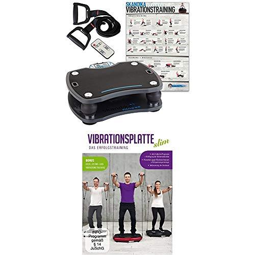 Skandika Home Vibration Plate 500, Profi Vibrationsgerät, inklusive Trainingsbänder mit großer rutschsicheren Trainingsfläche, anthrazit/schwarz + Vibrationsplatte Slim