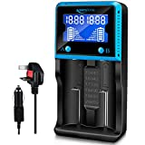 18650 Universal Vape Battery Charger, Intelligent ICR BRC Batteries Charger with LCD Display & Cables for Li-ion Lifepo4 Ni-MH Ni-Cd AA AAA SC 10440 14500 16340 18650 18350 18500 18560 22650 25500 26650 20700 21700 RCR123 Rechargeable Batte