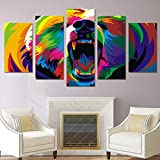 Canvas Painting 5 Piece HD Printed Colorful Bears Print Room Decor Print Poster Picture Modern Home Decoration SJDBF