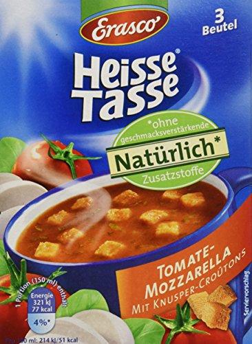 Erasco Heisse Tasse Tomaten-Mozzarella mit Croûtons, 12er Pack (12 x 450 ml Beutel)