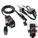 MOTOPOWER Caricabatterie doppio USB da 3.1A per moto e monitor batteria con controllo interruttore e indicatore LED