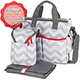 Baby Diaper Bag Chevron Grey- Bottle Bag &Changing Mat - 13 Pockets Premium Diaper Bag With Stroller Straps