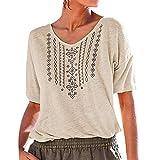 Geilisungren Camiseta de Manga Corta con Cuello en V y Manga Corta para Mujer Camiseta Básica de Algodón Camiseta para Mujer T-Shirt Suelto Tops (Beige,XXXL)