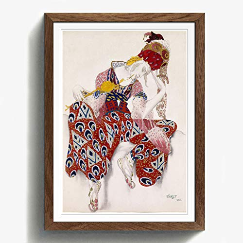 BIG Box Art Leon Bakst Kostüm Design Gerahmter Kunstdruck mit schwarzem Rahmen, Mehrfarbig, 62x 45cm/24,5x 18/a2-p, Holz, walnuss, 62 x 45 cm/24.5 x 18-Inch/A2