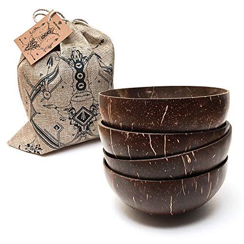 Nature Nerds – Kokosnuss-Schale (4er Pack) – Geschenk-Set im Jutebeutel/Buddha Bowl