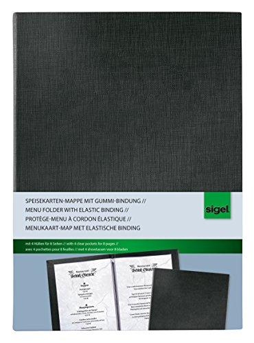 Preisvergleich Produktbild Sigel SM110 Speisekarten-Mappe mit Gummi-Bindung für A4, schwarz - auch in A5