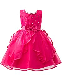 MISSMAO Abito Elegante da Bambina in Chiffon Arricciato Estivo Vestito  Abito da Sposa per Damigelle Ragazza Rosa… a289372f402