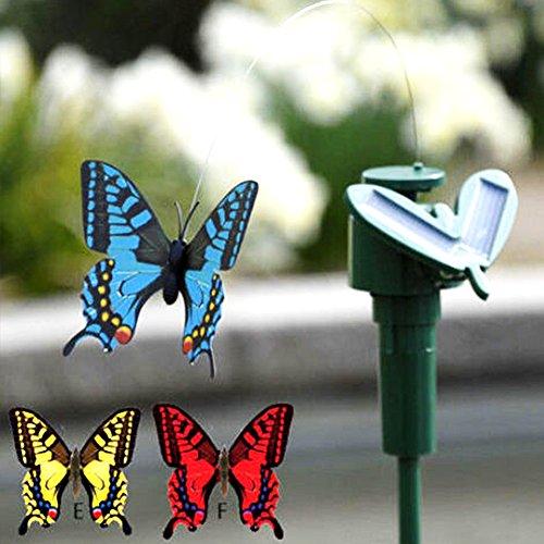GEZICHTA Fluttering Butterfly Solarenergie, Garten, batteriebetrieben, für Terrasse, Garten-Pflanzen, Blumen-, Outdoor-Dekor, zufällige Farbe