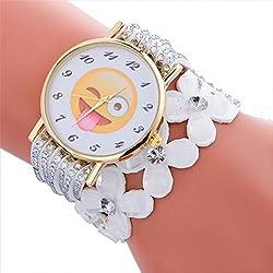 Longra Reloj ♥Reloj De Pulsera De Señora, Moda Y Cute Emoji Patrón De Pulsera De Cuero De Cristal (Blanco)