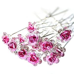 Cosanter 20 Stück Haarspangen Haarschmuck Hochzeit Braut Blume Strass Kristall Haarspangen Pins (Rosa)