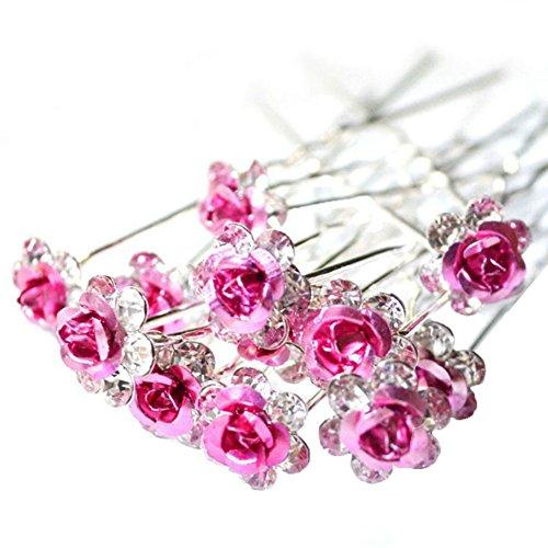 20 horquillas de cristal de colores con forma de flores