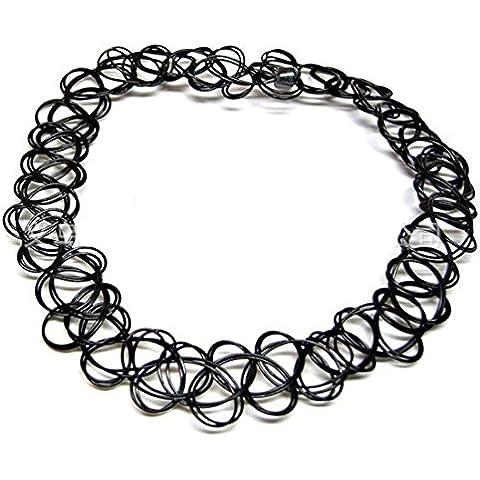 EQLEF® 2 pezzi nero donne gotico stirata collana del collare elastico Linea Tatuaggio all'henné Girocollo Ciondolo