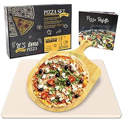 Garcon Pizzastein für Backofen und Gasgrill zum Pizza Backen - 3er Set inkl. Pizzaschieber und Pizza Kochbuch
