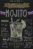 Cocktail Rezept recipe mojito Rum Minze anleitung schwarz hintergrund schild aus blech, metal sign, tin