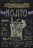Schatzmix Cocktail Rezept Recipe Mojito Rum Minze Anleitung schwarz Hintergrund Metal Sign deko Sign Garten Blech