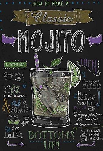 Cocktail Rezept Recipe Mojito Rum Minze Anleitung schwarz Hintergrund Schild aus Blech, metallsign, Tin