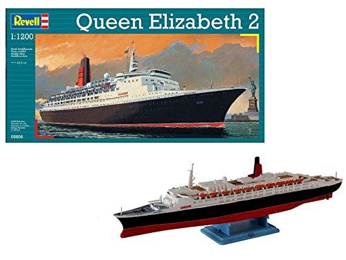 Revell Modellbausatz Schiff 1:1200 - Queen Elizabeth 2 im Maßstab 1:1200, Level 4, originalgetreue Nachbildung mit vielen Details, Kreuzfahrtschiff, 05806