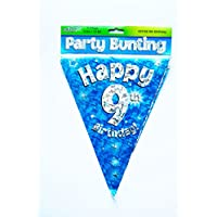 Happy 9th Birthday Flag Bunting Age Boys Blue Pennant Banner Party Decorations