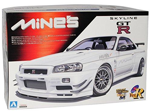R34-modell-kit Gtr (Nissan Skyline R34 GT-R Weiss Tuning 1998-2002 Kit Bausatz 1/24 Aoshima Modell Auto Modell Auto)