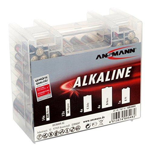 ANSMANN Alkaline Batterie Box 1.5V / Longlife Alkalibatterien / Sparpaket in einer robusten Vorratsbox inkl. 14x Micro AAA  12x Mignon AA  4x Baby C  4x Mono D  1x E-Block 9V / 35 Stück Alkaline-batterie-box