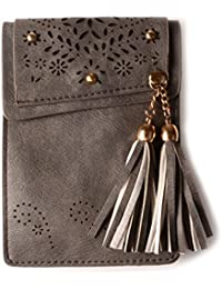 Kiss Gold(Tm) Mini Crossbody Shoulder Bag, Small Cellphone Pouch, Single Shoulder Bag, Pu Leather Tassel Style...