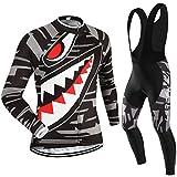 (Cojín 3D)(traje(Forro polar & tirante negro) tamaño:L) Hombre Ciclismo Ropa Maillots Pantalones pantalón Set Conjunto jerseys
