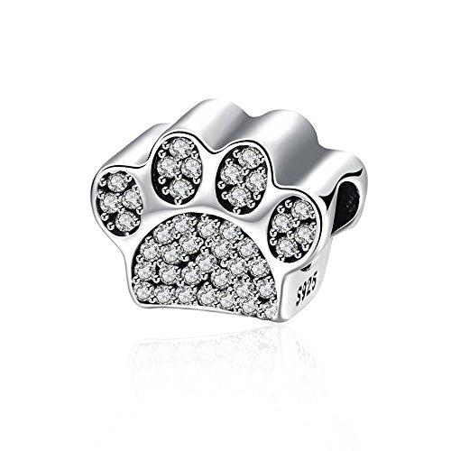 Ciondolo a forma di zampa Nykkola con elementi Swarovski in argento Sterling 925e cristallo per braccialetti Pandora