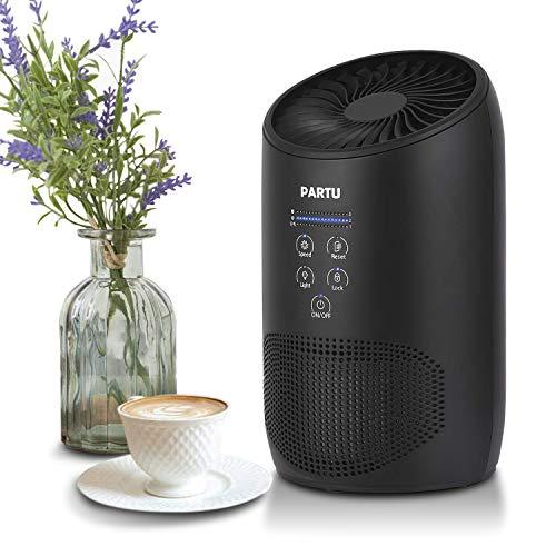 PARTU Luftreiniger Air Purifier HEPA-Kombifilter & Aktivkohlefilter mit Duft-Schwamm 3-Stufen Filterung für 99,97% Filterleistung, perfekt für Allergiker und Raucher, 100% ohne Ozon, BS-03 - Luftreiniger Entfernen Rauch