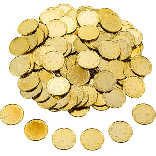 Zhanmai 120 Stücke St. Patrick's Day Münzen Shamrock Glück Kunststoff Münzen Tabelle Scatter Dekoration für Party Favor Lieferungen (Goldfarbe)