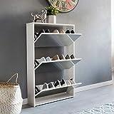 WOHNLING Schuhkipper NIKLAS 3 Klappen Weiß mit Spiegel 63x103x17 cm Schuhschrank Holz | Schuhkommode geschlossen | Schuhregal hoch Kipper schmal | Schuhaufbewahrung verspiegelt | Design Flurmöbel Dielenmöbel