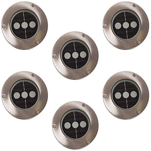 esto24® 6er Set Solar LED Bodenstrahler Edelstahl Wegbeleuchtung 3 LEDs Pro Strahler