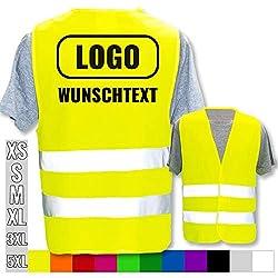 Warnweste mit eigenem Aufdruck selbst gestalten * Bedruckt mit Name Text Bild Logo Firma, Farbe & Größe:Gelb/Größe XL/XXL, Position & Druckart:Rücken/Standard-Druck