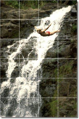 FOTOS DE CASCADAS DUCHA MURAL DE AZULEJOS 25  32X 48CM CON (24) 8X 8AZULEJOS DE CERAMICA