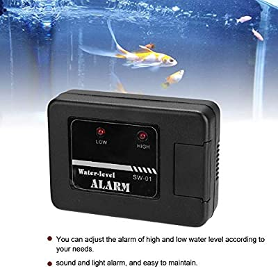 Pssopp Aquarium Wasserstand Alarm Aquarium Wasserlecksuche Alarm und Sensor Ton und Licht Alarm High Low Water Leak Detector