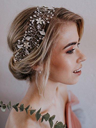 SWEETV Bohemien Perle Diadem Hochzeit Stirnbänder Harrband Tiara Kristall Haarschmuck Haarreif, Silber