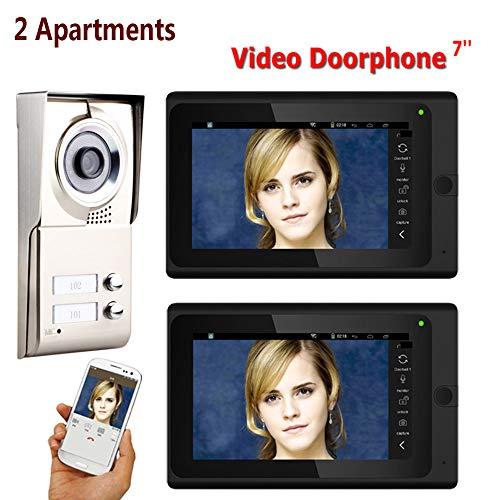 ZY 7inch Grabar con Cable WiFi 2 Apartamentos Video Portero telefónico Sistema...